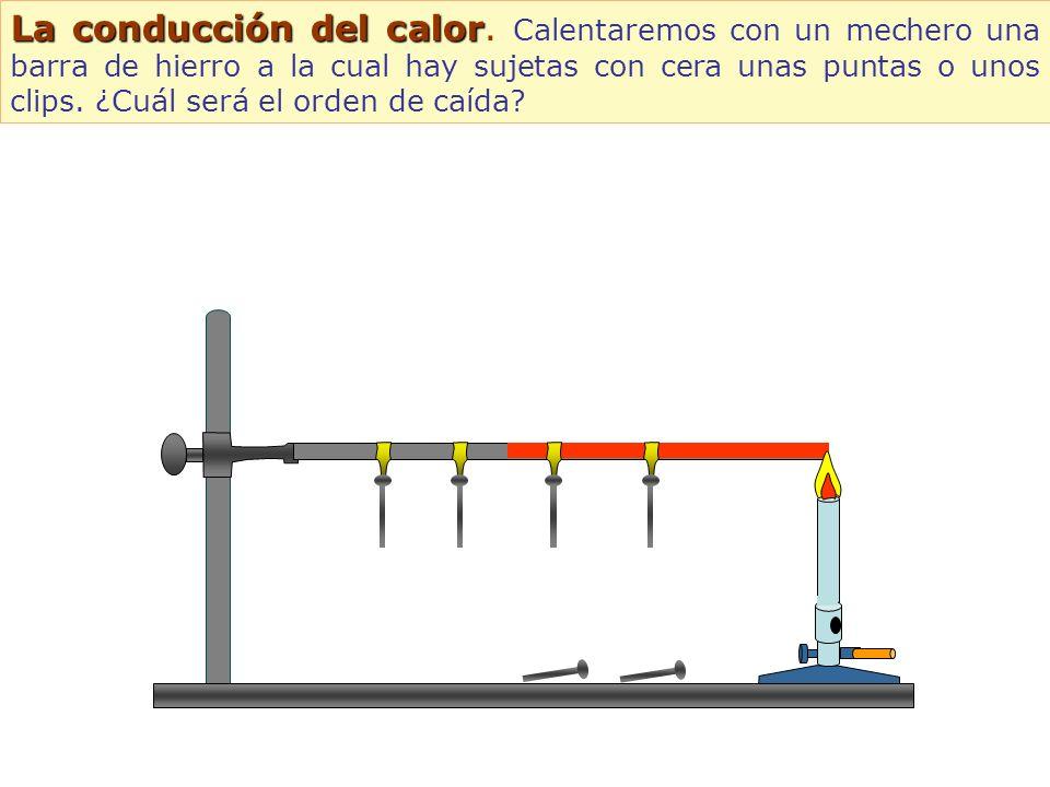 La conducción del calor La conducción del calor. Calentaremos con un mechero una barra de hierro a la cual hay sujetas con cera unas puntas o unos cli
