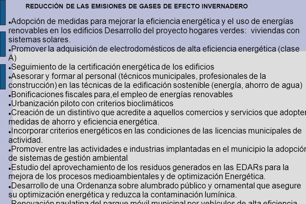 REDUCCIÓN DE LAS EMISIONES DE GASES DE EFECTO INVERNADERO Adopción de medidas para mejorar la eficiencia energética y el uso de energías renovables en