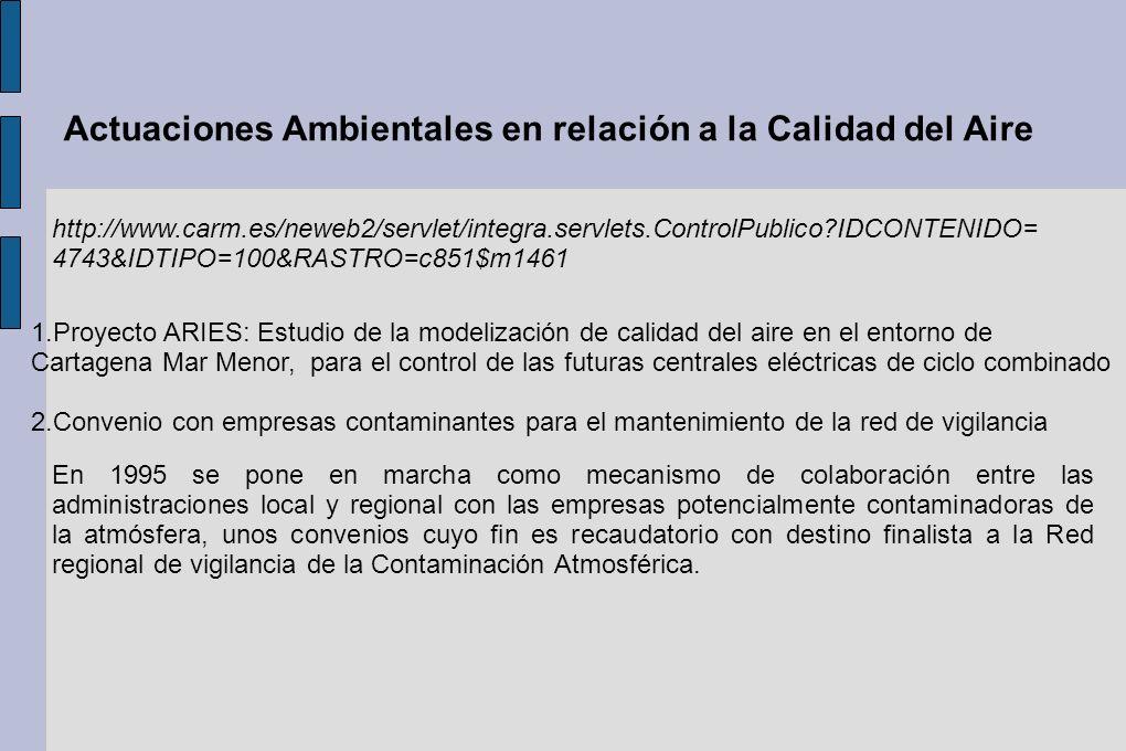 Actuaciones Ambientales en relación a la Calidad del Aire http://www.carm.es/neweb2/servlet/integra.servlets.ControlPublico?IDCONTENIDO= 4743&IDTIPO=1