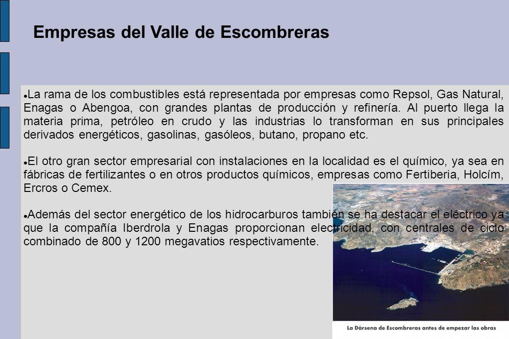 La rama de los combustibles está representada por empresas como Repsol, Gas Natural, Enagas o Abengoa, con grandes plantas de producción y refinería.
