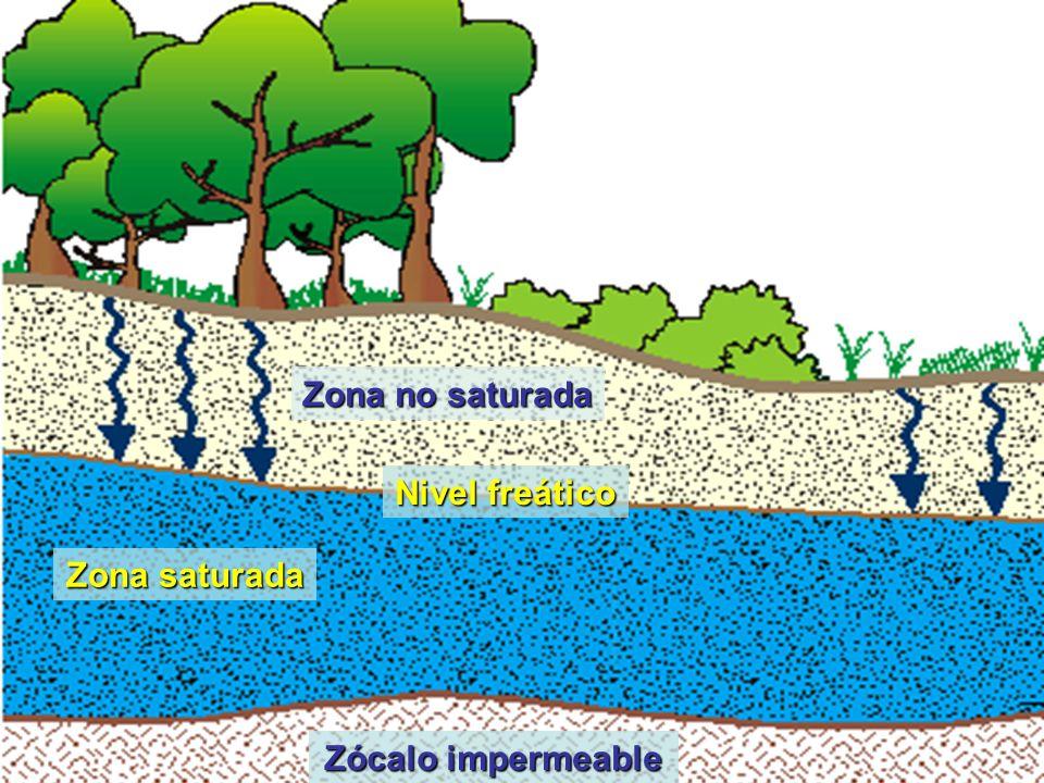 Zona no saturada Zona saturada Zócalo impermeable Nivel freático