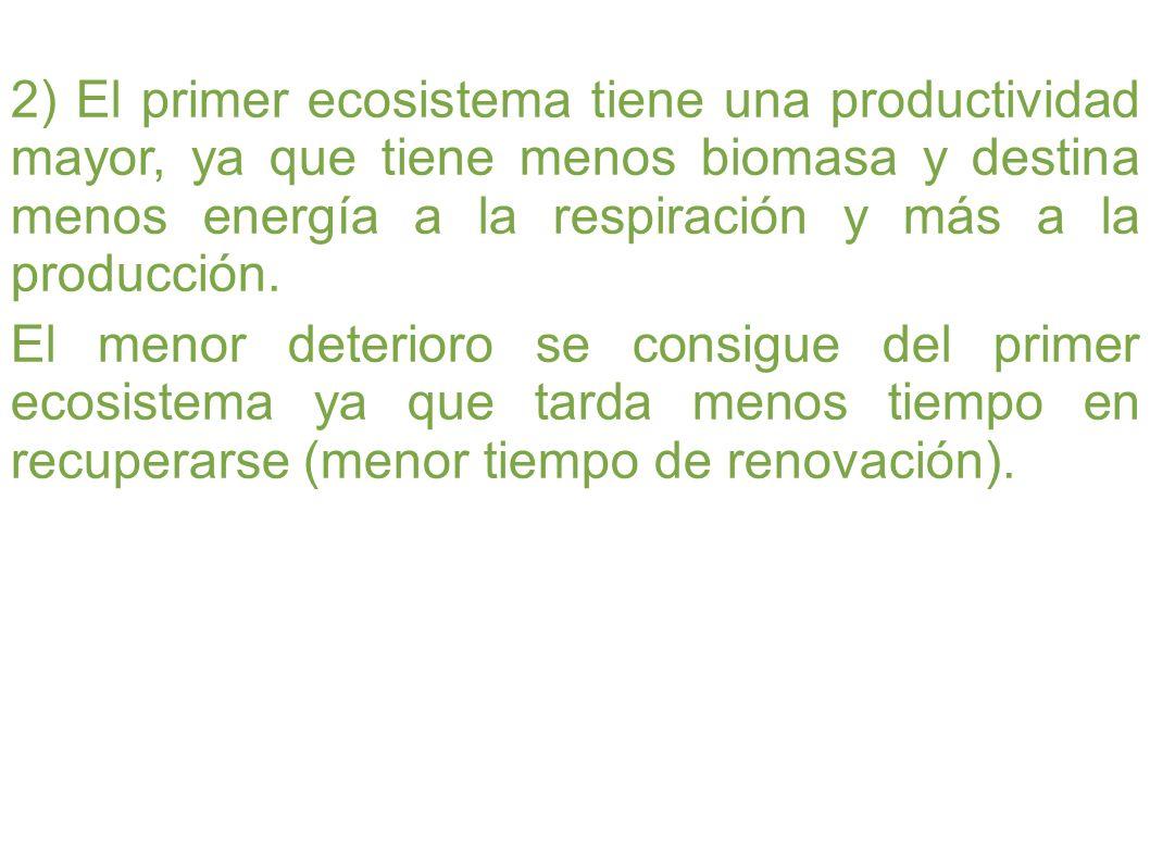 2) El primer ecosistema tiene una productividad mayor, ya que tiene menos biomasa y destina menos energía a la respiración y más a la producción. El m