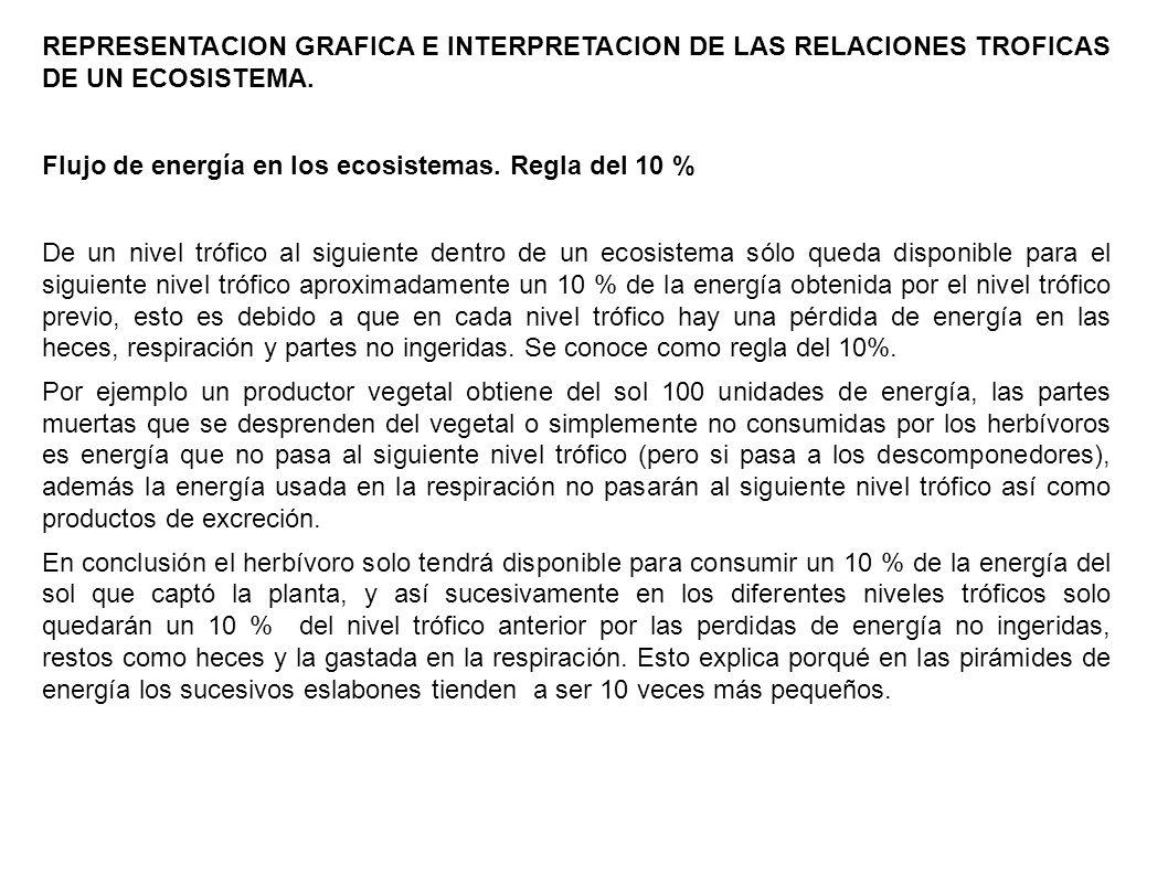 REPRESENTACION GRAFICA E INTERPRETACION DE LAS RELACIONES TROFICAS DE UN ECOSISTEMA. Flujo de energía en los ecosistemas. Regla del 10 % De un nivel t