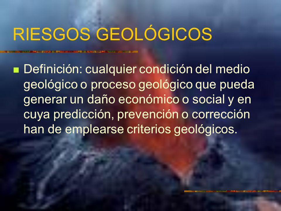 RIESGOS GEOLÓGICOS Definición: cualquier condición del medio geológico o proceso geológico que pueda generar un daño económico o social y en cuya predicción, prevención o corrección han de emplearse criterios geológicos.