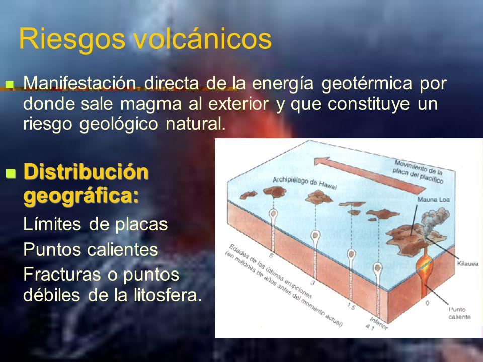 Riesgos volcánicos Manifestación directa de la energía geotérmica por donde sale magma al exterior y que constituye un riesgo geológico natural. Distr