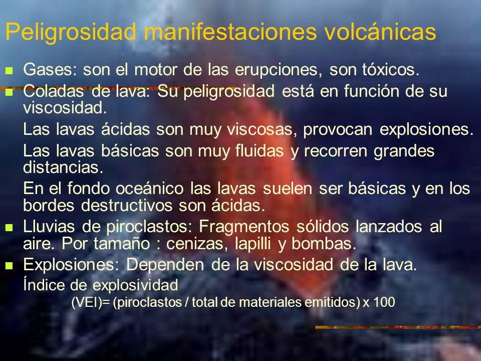 Peligrosidad manifestaciones volcánicas Gases: son el motor de las erupciones, son tóxicos.