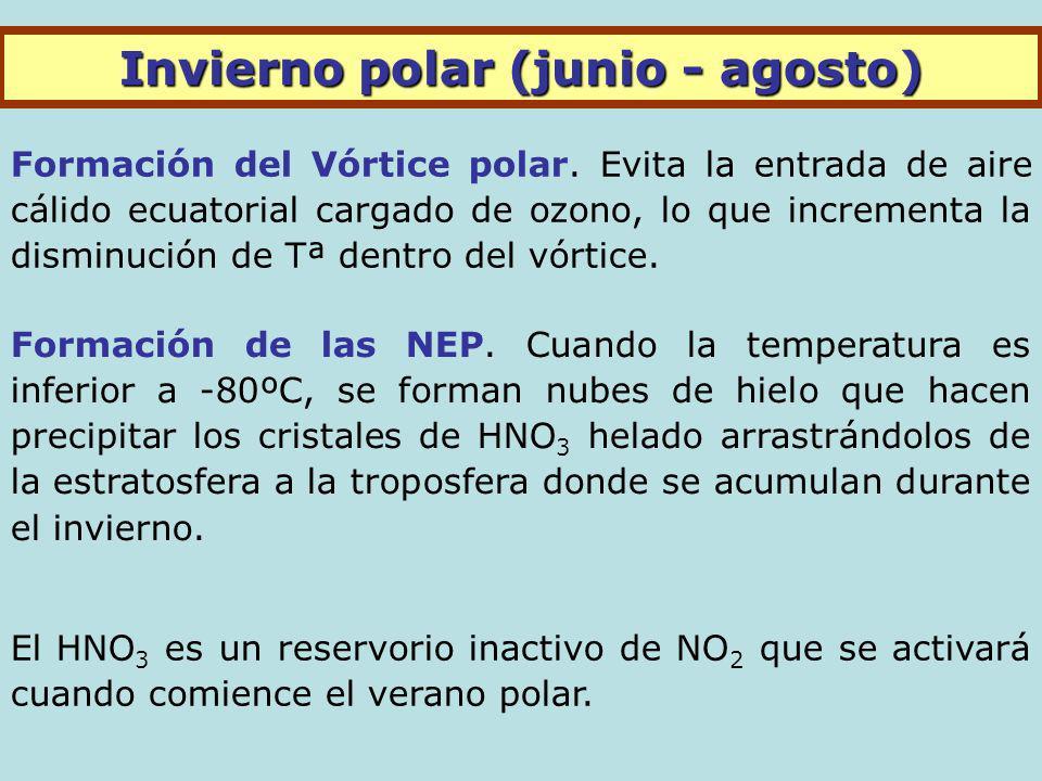 Invierno polar (junio - agosto) Formación del Vórtice polar.