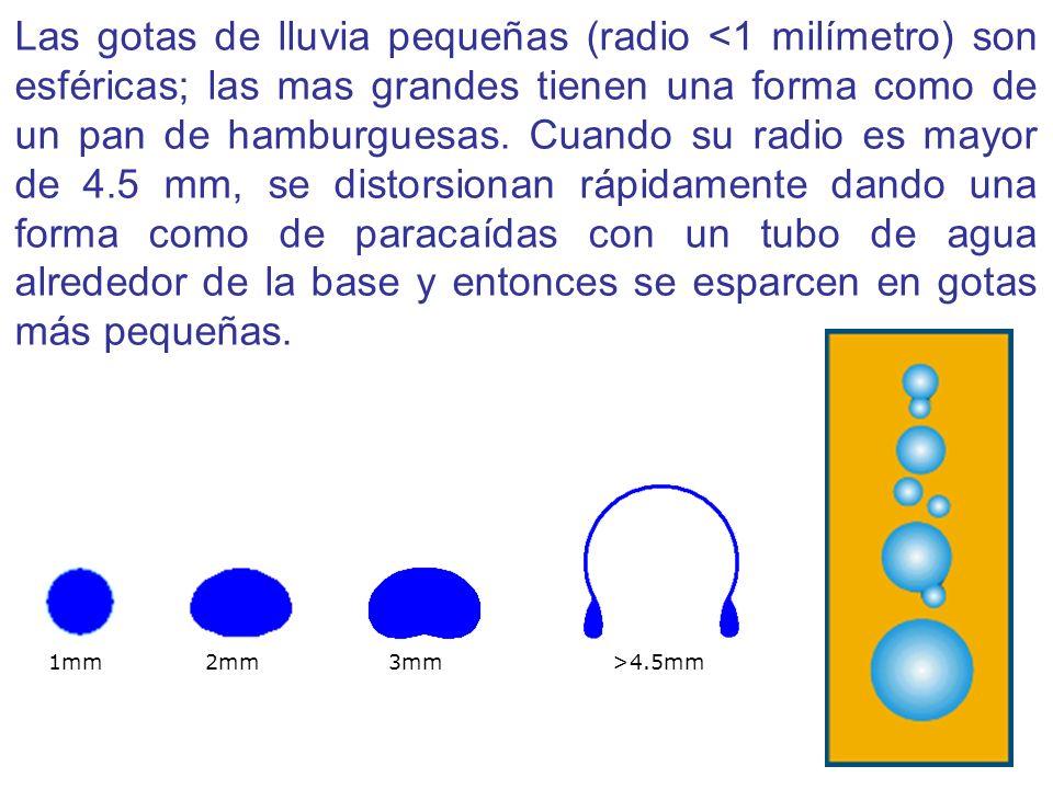 Las gotas de lluvia pequeñas (radio <1 milímetro) son esféricas; las mas grandes tienen una forma como de un pan de hamburguesas. Cuando su radio es m