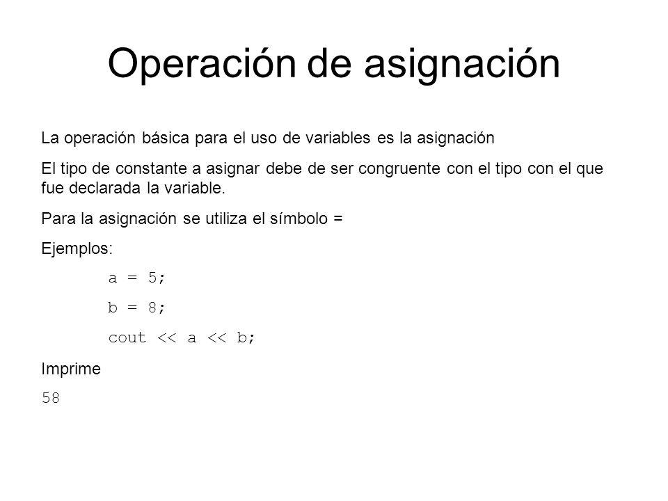 Operación de asignación La operación básica para el uso de variables es la asignación El tipo de constante a asignar debe de ser congruente con el tip