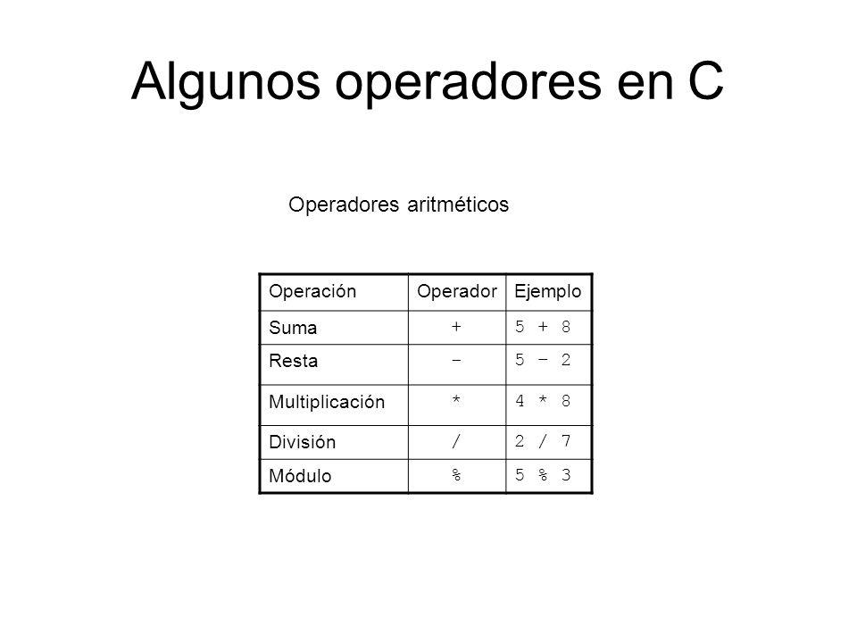 Algunos operadores en C OperaciónOperadorEjemplo Suma +5 + 8 Resta -5 – 2 Multiplicación *4 * 8 División /2 / 7 Módulo %5 % 3 Operadores aritméticos