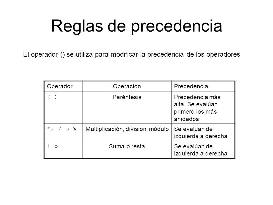 Reglas de precedencia El operador () se utiliza para modificar la precedencia de los operadores OperadorOperaciónPrecedencia ( ) ParéntesisPrecedencia