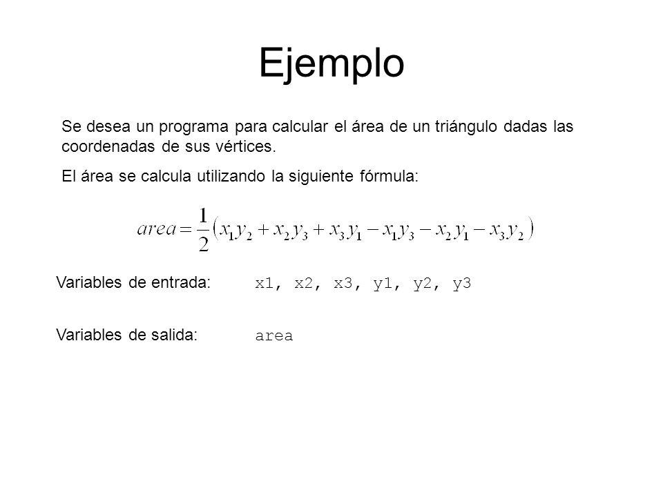 Ejemplo Se desea un programa para calcular el área de un triángulo dadas las coordenadas de sus vértices. El área se calcula utilizando la siguiente f