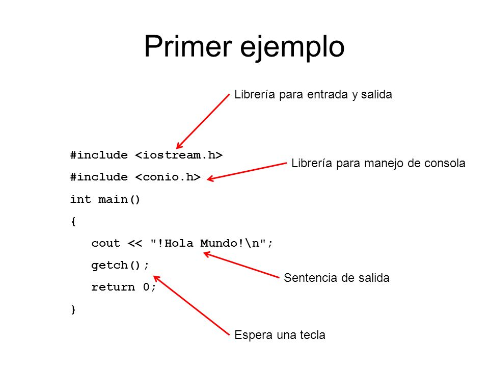 Primer ejemplo #include int main() { cout <<