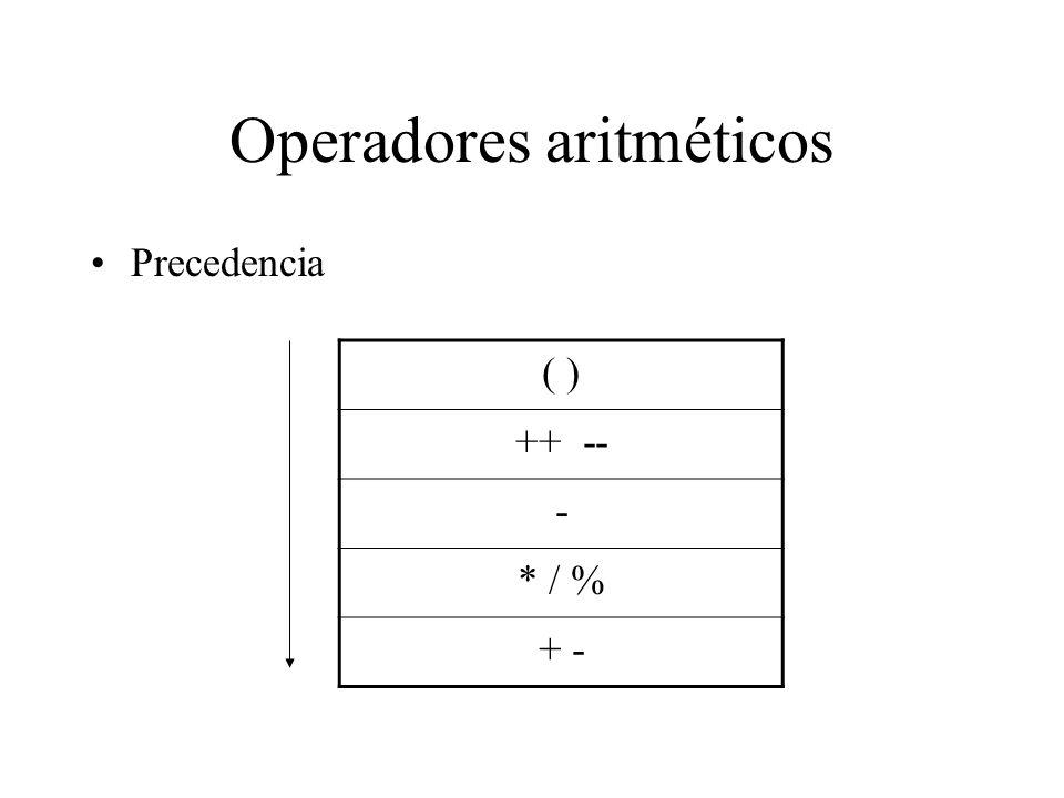 Operadores aritméticos Precedencia ( ) ++ -- - * / % + -