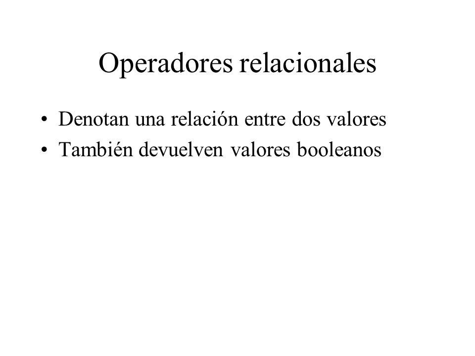 Operadores relacionales Denotan una relación entre dos valores También devuelven valores booleanos