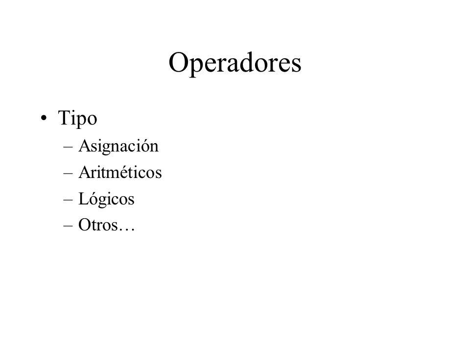 Operador de asignación = –variable = expresion ; –El resultado de expresion debe ser del mismo tipo que la variable –Existen conversiones implícitas Se puede perder información