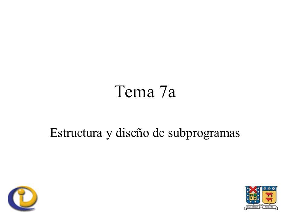 Tema 7a Estructura y diseño de subprogramas