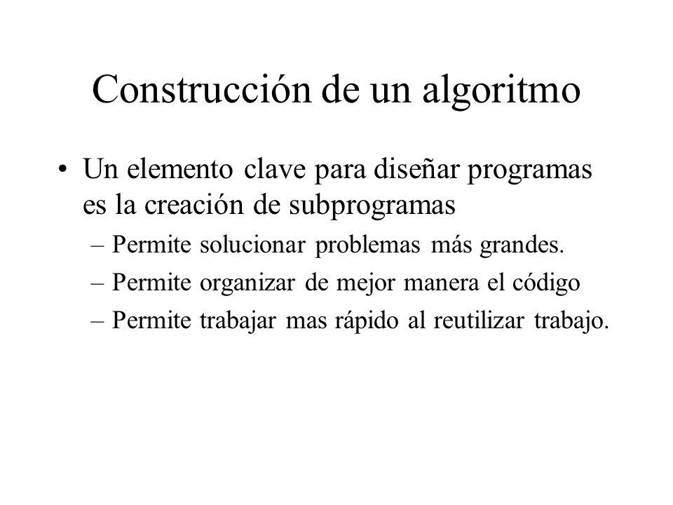 Construcción de un algoritmo Un elemento clave para diseñar programas es la creación de subprogramas –Permite solucionar problemas más grandes. –Permi