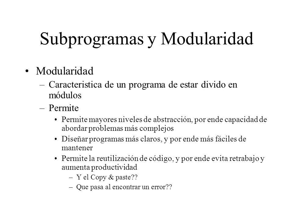 Subprogramas y Modularidad Modularidad –Caracteristica de un programa de estar divido en módulos –Permite Permite mayores niveles de abstracción, por