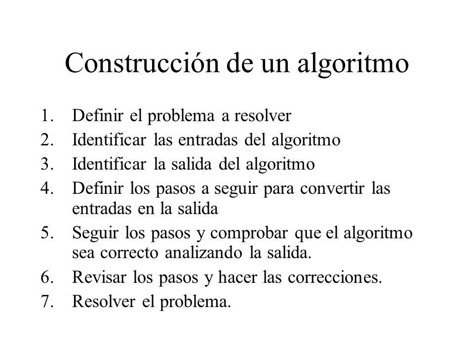 Construcción de un algoritmo 1.Definir el problema a resolver 2.Identificar las entradas del algoritmo 3.Identificar la salida del algoritmo 4.Definir