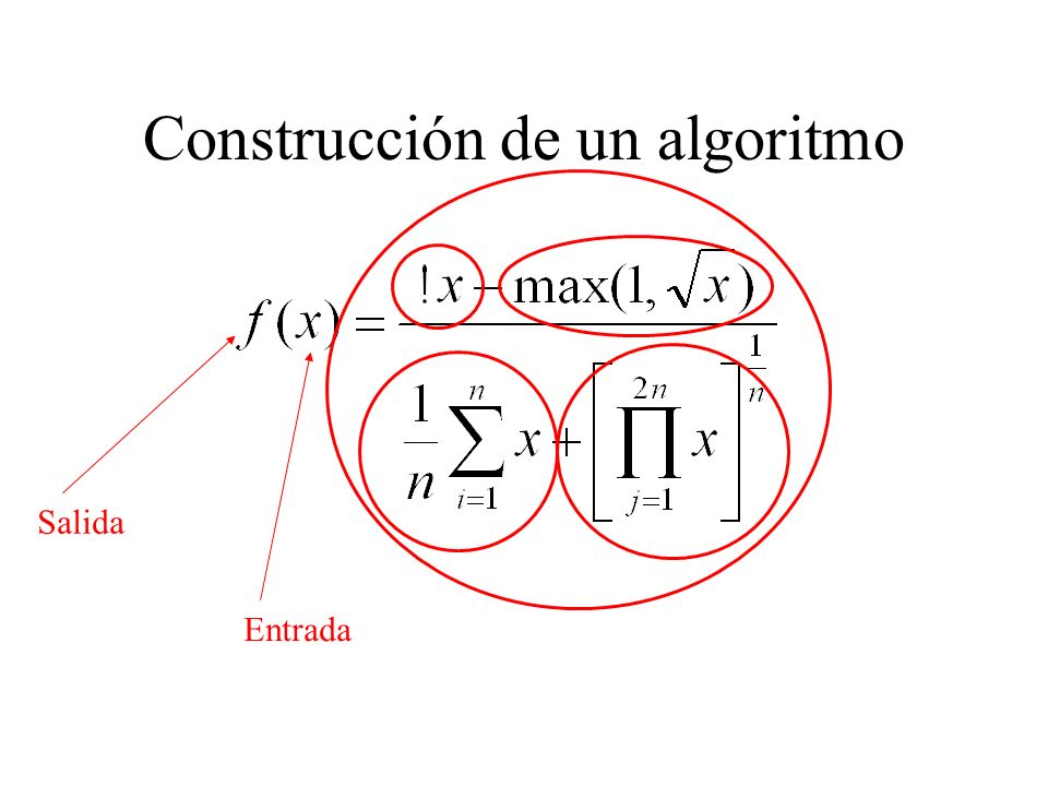 Calcular !x Calcular max Ingresar x Calcular prom arit Construcción de un algoritmo Calcular prom geo Entregar resultado Juntar resultados