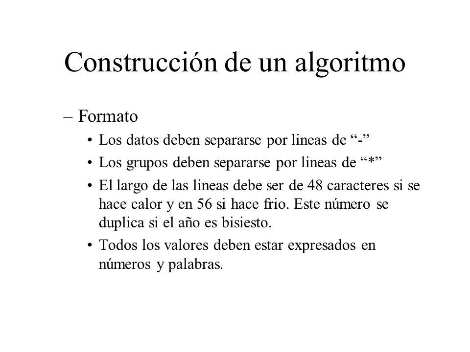Construcción de un algoritmo –Formato Los datos deben separarse por lineas de - Los grupos deben separarse por lineas de * El largo de las lineas debe