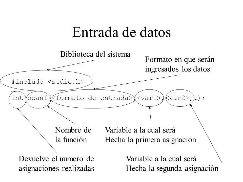 Entrada de datos #include … int scanf(,,,…); Biblioteca del sistema Devuelve el numero de asignaciones realizadas Nombre de la función Formato en que serán ingresados los datos Variable a la cual será Hecha la primera asignación Variable a la cual será Hecha la segunda asignación