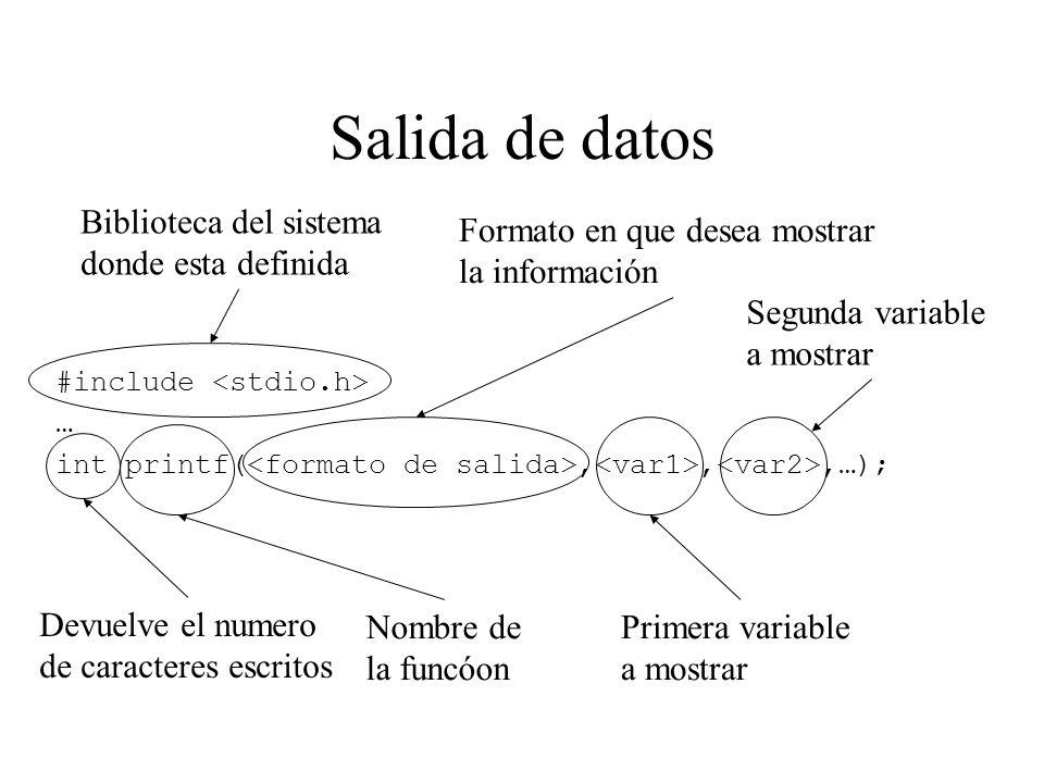 Salida de datos #include … int printf(,,,…); Biblioteca del sistema donde esta definida Devuelve el numero de caracteres escritos Nombre de la funcóon Formato en que desea mostrar la información Primera variable a mostrar Segunda variable a mostrar