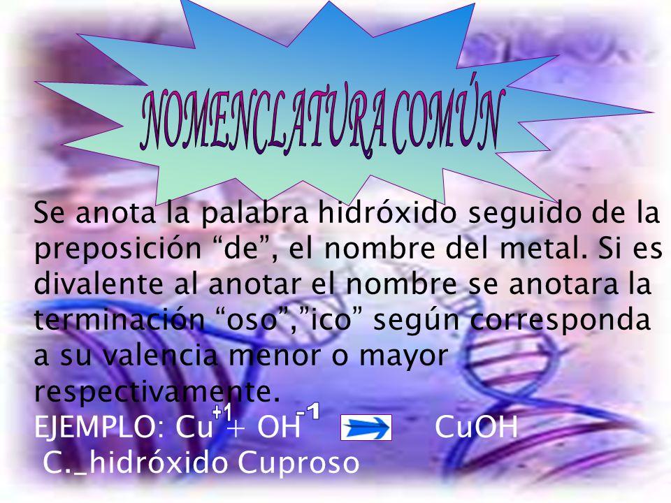 Se anota la palabra hidróxido seguido de la preposición de, el nombre del metal. Si es divalente al anotar el nombre se anotara la terminación oso, ic