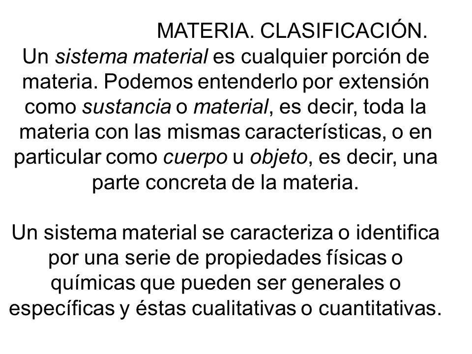 Los sistemas materiales se pueden clasificar del siguiente modo: SISTEMA MATERIAL: - Sustancia PURA : - Simple : 90 naturales 16 artificiales Mezcla:- Homogénea: Indefinidos - Heterogénea: Indefinidos