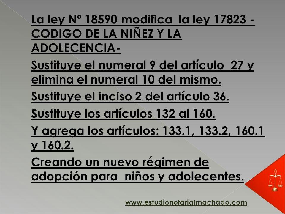 La ley Nº 18590 modifica la ley 17823 - CODIGO DE LA NIÑEZ Y LA ADOLECENCIA- Sustituye el numeral 9 del artículo 27 y elimina el numeral 10 del mismo.