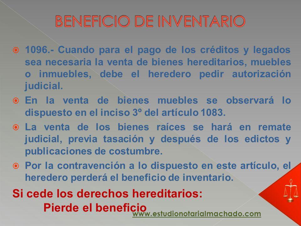 1096.- Cuando para el pago de los créditos y legados sea necesaria la venta de bienes hereditarios, muebles o inmuebles, debe el heredero pedir autori