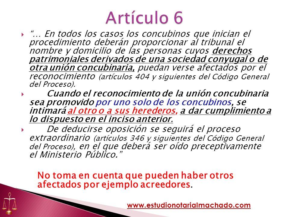 … En todos los casos los concubinos que inician el procedimiento deberán proporcionar al tribunal el nombre y domicilio de las personas cuyos derechos