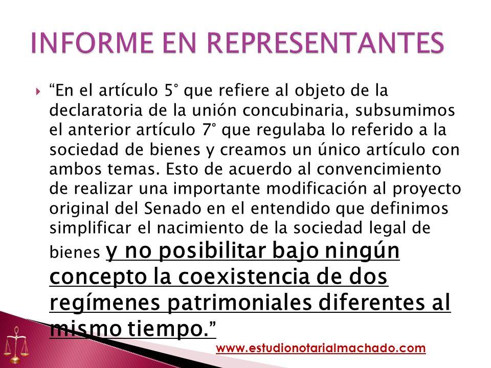 En el artículo 5° que refiere al objeto de la declaratoria de la unión concubinaria, subsumimos el anterior artículo 7° que regulaba lo referido a la