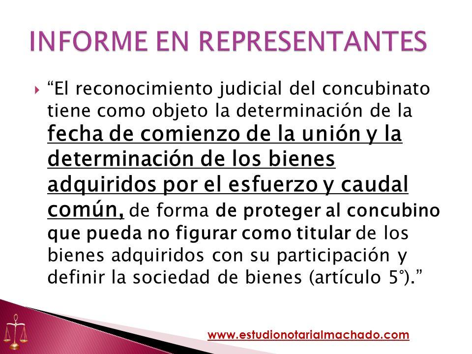 El reconocimiento judicial del concubinato tiene como objeto la determinación de la fecha de comienzo de la unión y la determinación de los bienes adq
