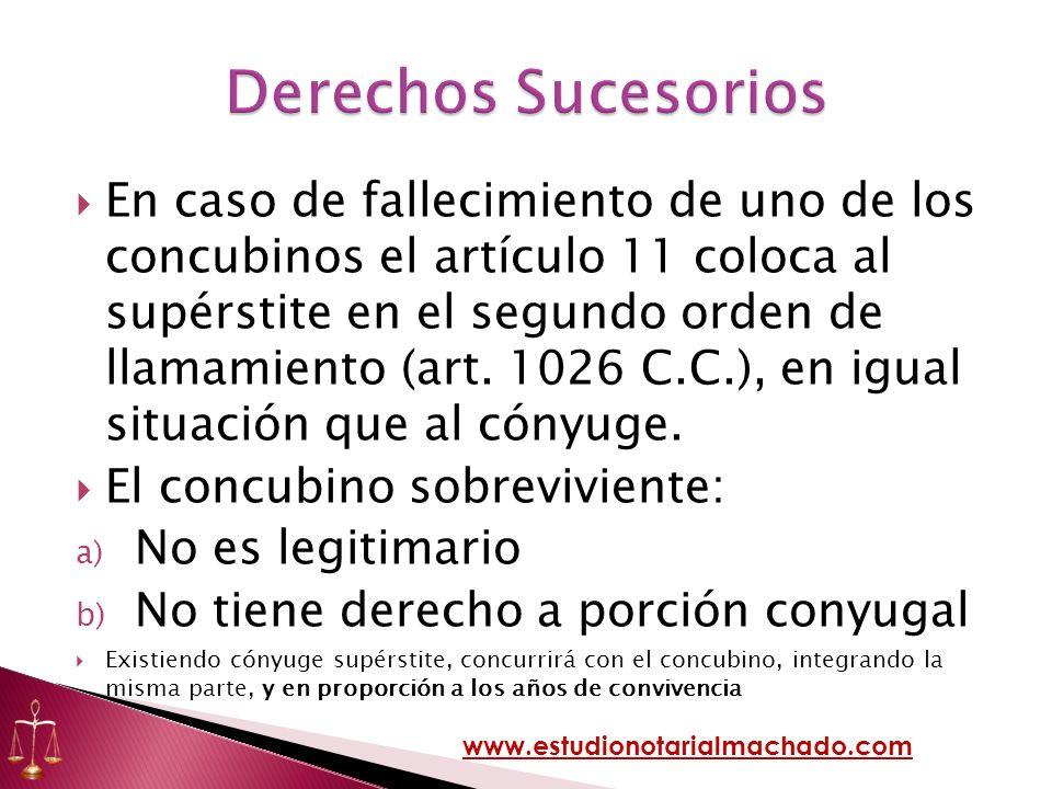 En caso de fallecimiento de uno de los concubinos el artículo 11 coloca al supérstite en el segundo orden de llamamiento (art. 1026 C.C.), en igual si