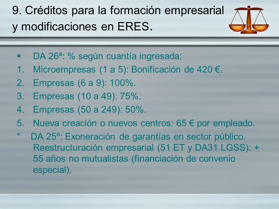 9. Créditos para la formación empresarial y modificaciones en ERES. DA 26ª: % según cuantía ingresada: 1.Microempresas (1 a 5): Bonificación de 420. 2