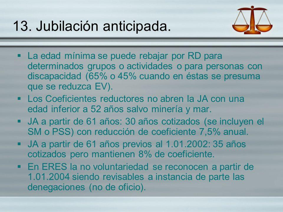 13. Jubilación anticipada. La edad mínima se puede rebajar por RD para determinados grupos o actividades o para personas con discapacidad (65% o 45% c