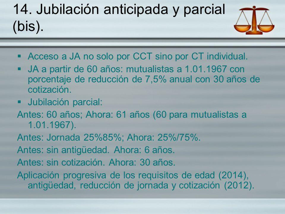 14. Jubilación anticipada y parcial (bis). Acceso a JA no solo por CCT sino por CT individual. JA a partir de 60 años: mutualistas a 1.01.1967 con por