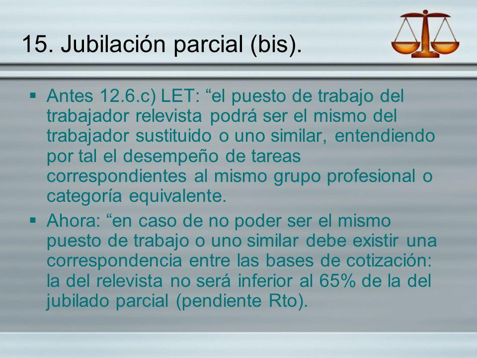 15. Jubilación parcial (bis). Antes 12.6.c) LET: el puesto de trabajo del trabajador relevista podrá ser el mismo del trabajador sustituido o uno simi