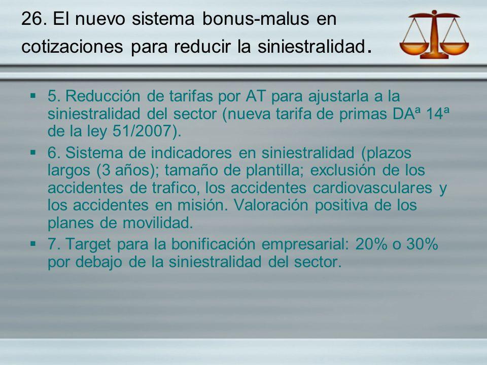 26. El nuevo sistema bonus-malus en cotizaciones para reducir la siniestralidad. 5. Reducción de tarifas por AT para ajustarla a la siniestralidad del