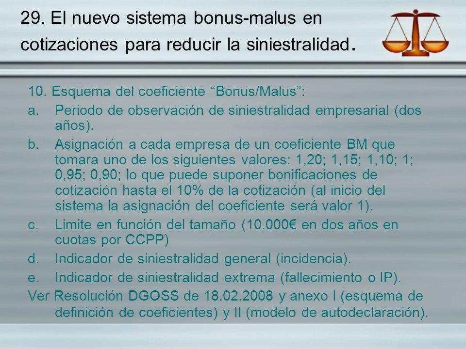 29. El nuevo sistema bonus-malus en cotizaciones para reducir la siniestralidad. 10. Esquema del coeficiente Bonus/Malus: a.Periodo de observación de