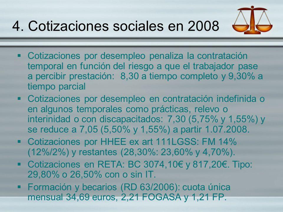 4. Cotizaciones sociales en 2008 Cotizaciones por desempleo penaliza la contratación temporal en función del riesgo a que el trabajador pase a percibi
