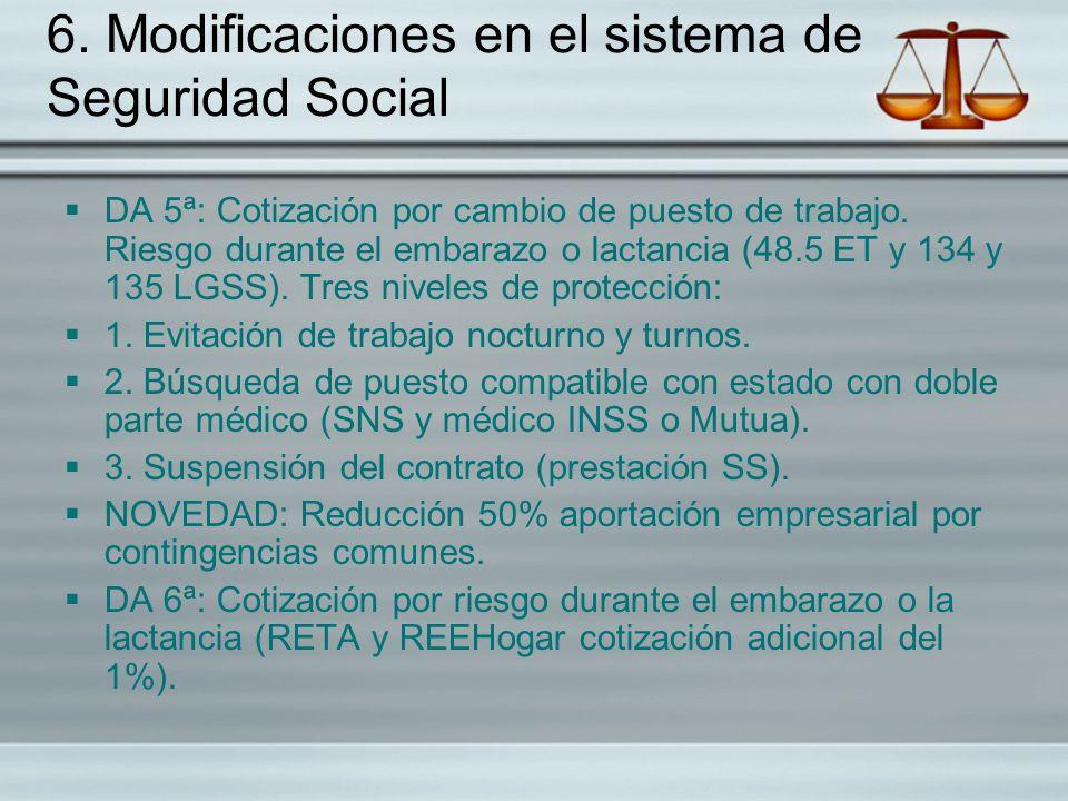 6. Modificaciones en el sistema de Seguridad Social DA 5ª: Cotización por cambio de puesto de trabajo. Riesgo durante el embarazo o lactancia (48.5 ET