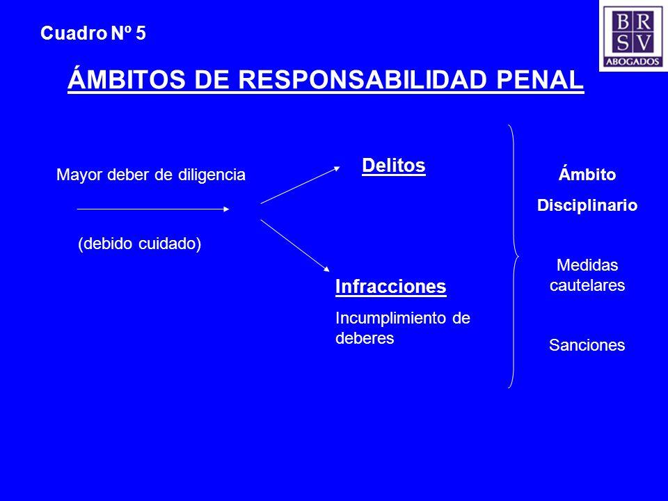 Cuadro Nº 5 ÁMBITOS DE RESPONSABILIDAD PENAL (debido cuidado) Mayor deber de diligencia Delitos Infracciones Incumplimiento de deberes Ámbito Discipli