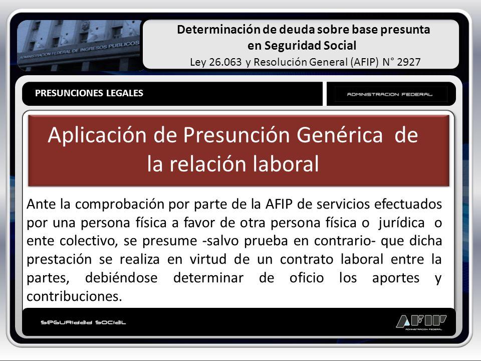 Determinación de deuda sobre base presunta en Seguridad Social Ley 26.063 y Resolución General (AFIP) N° 2927 PRESUNCIONES LEGALES Aplicación de Presu