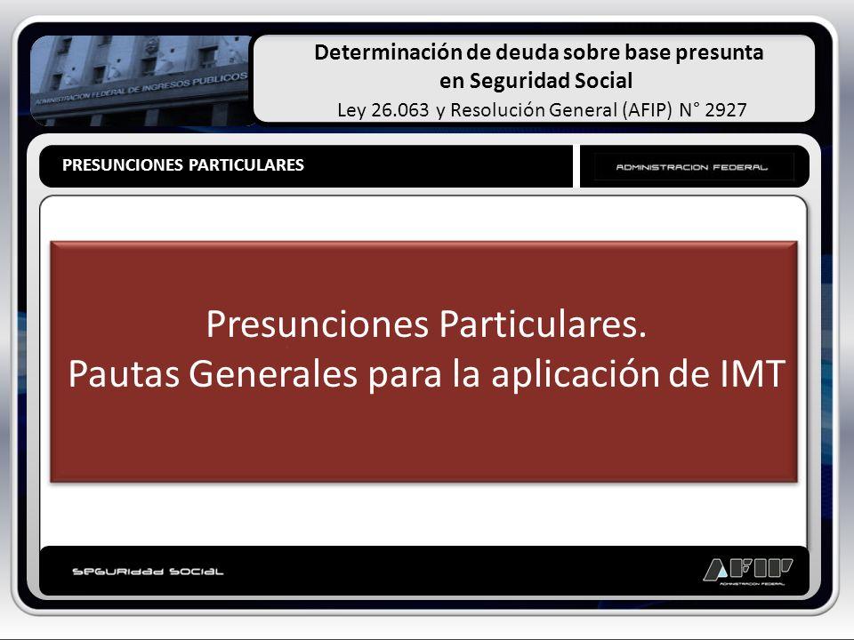 Determinación de deuda sobre base presunta en Seguridad Social Ley 26.063 y Resolución General (AFIP) N° 2927 PRESUNCIONES PARTICULARES Presunciones P