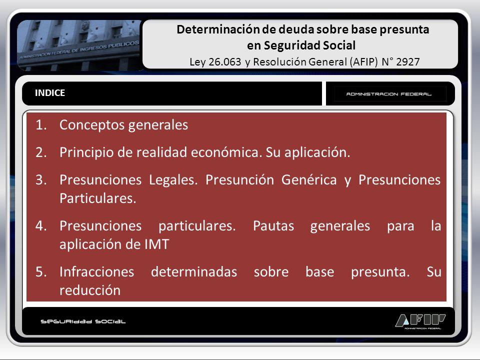Determinación de deuda sobre base presunta en Seguridad Social Ley 26.063 y Resolución General (AFIP) N° 2927 INDICE 1.Conceptos generales 2.Principio