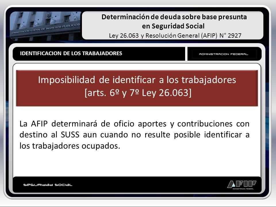 Determinación de deuda sobre base presunta en Seguridad Social Ley 26.063 y Resolución General (AFIP) N° 2927 IDENTIFICACION DE LOS TRABAJADORES PRESU