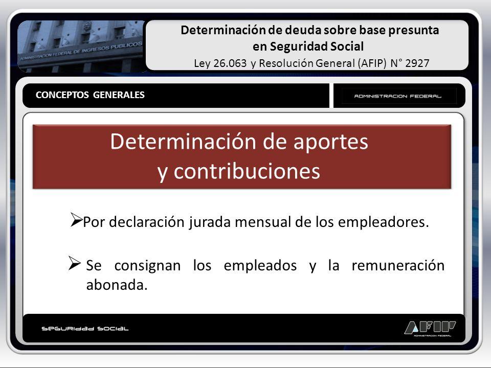 Determinación de deuda sobre base presunta en Seguridad Social Ley 26.063 y Resolución General (AFIP) N° 2927 CONCEPTOS GENERALES Determinación de Oficio Cuando el empleador no presenta declaraciones juradas o las presentadas resultan insuficientes, la AFIP determinará de oficio los aportes y contribuciones omitidos.